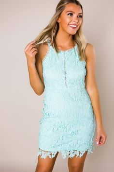 4185921bcd2 Mint Crochet Fitted Dress. Mint Crochet Fitted Dress - Dottie Couture  Boutique
