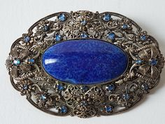 Vintage Lapis Lazuli Brooch, filigree brooch costume jewellry, Vintage Brooch Lapis Lazuli Stone,Victorian style costume jewels large brooch by OldenPuddles on Etsy