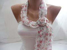 Women Chiffon Scarf  with flower clips Headband   Summer by DIDUCI, $16.00