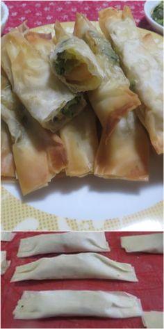 Fagottini di pasta phillo zucchine e gamberetti