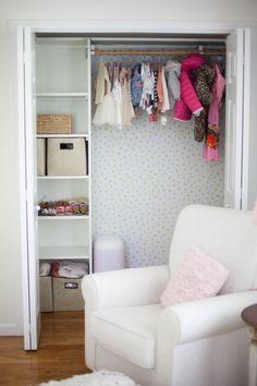 Home // Kids' Closet Makeovers & Tips for Installing Removable Wallpaper - Lauren McBride Closet Wallpaper, Kids Wallpaper, Diy Bedroom Decor, Diy Home Decor, Bedroom Ideas, Girls Bedroom, Kid Closet, Closet Tour, Closet Ideas