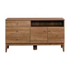 """The Cold War was just getting chill and the Space Race heating up when the thrill of all things modern first hit American suburbia. Threshold captures the unbounded optimism of this style in the clean lines and architectural composition of the Midcentury Entertainment Credenza. It accommodates up to a 55"""" TV and has a spacious opening designed for a DVD player, video game console or DVR. Two doors below open to reveal hidden storage and an adjustable shelf. Two drawers provide addit..."""