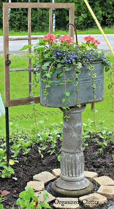 How To Add Vertical Interest to the Flower Garden via OrganizedClutter.net