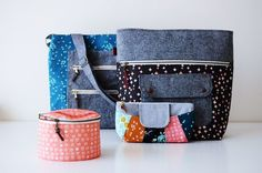 Gingham Tote and Rainbow Clutch from Handmade Style, Caravan Tote by Noodlehead. Sewn by Aneela Hoey using her newest collection Vignette for Cloud9 Fabrics.