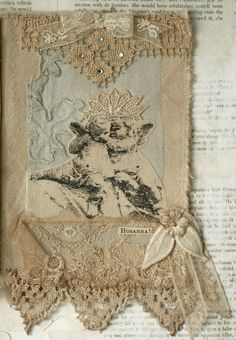 Mixed Media Fabric Collage Book of Heavenly Girls | eBay