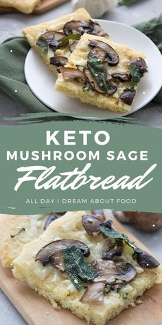 Easy keto flatbread recipe topped with sautéed mushrooms and crispy sage leaves. A mouthwatering low carb side dish or light keto vegetarian meal.