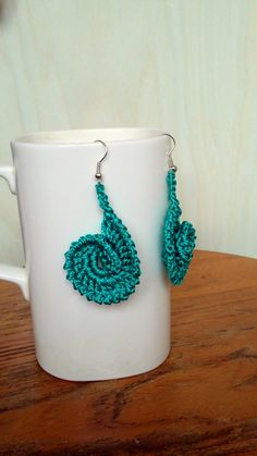 Crochet  Earrings Teal Aqua Color Earrings Long by knittee on Etsy