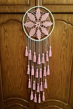 Blush Pink Dream Catcher Tassel Wall Hanging Large Dreamcatcher Baby Girl Pink Nursery Décor Pink Dreamcatcher Girls Bedroom Décor It will defend yo. Grand Dream Catcher, Large Dream Catcher, Dreamcatcher Crochet, Macrame Art, Doily Dream Catchers, Dream Catcher Craft, Baby Dekor, Dream Catcher Tutorial, Baby Girl Bedding