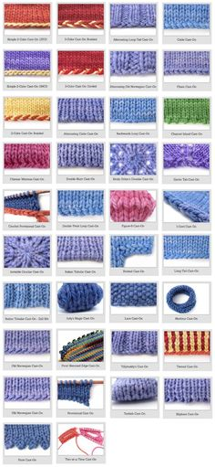 Crochet Stitches For Beginners Knitting For Beginners: 38 Different And Awesome Cast-on Stitches - See bellow a set off 38 awesome Different Cast-On Knitting Stitches, courtesy of Queer-Knits and how they look like. Cast On Knitting, Knitting Help, Knitting Stiches, Knitting Yarn, Hand Knitting, Crochet Stitches, Knitting Patterns, Knit Crochet, Start Knitting