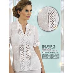 01/576 - CAMISERA MANGA CORTA EN PATECABRA CON 20U Y BORDADO Modelos Fashion, Dress Suits, Embroidered Blouse, White Outfits, Summer Wear, Nightwear, Shirt Blouses, Blouse Designs, Beautiful Dresses