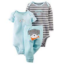 Carters Boys 3 Piece Grey Stripe Handsome Like Daddy Bodysuit, Blue Stripe Bodysuit and Blue Dog Applique Pant Set
