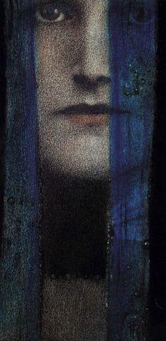 Fernand Khnopff (Belgian, 1858-1921)  Un Rideau Bleu 1909 1909, rideau bleu, curtains, blue curtain, art, deep blue, blues, portrait, fernand khnopff