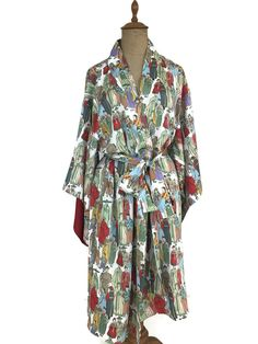 Details about NATORI Women s Japanese Kimono Print Kimono Sleeve Knee  Length Robe Satin Medium ca9f01c97