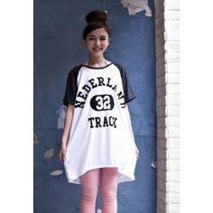 $6.62 Sweet Style Scoop Neck Short Sleeves Letter Print Cotton Blend T-Shirt For Women