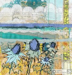 Mixed media textiles Sea Holly using vintage and recycled fabrics, papers lace and maps by Rebecca Chapman
