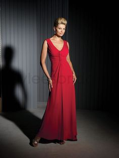 Matte Jersey V-neck Gathered Bodice A-line Mother Bride Dress