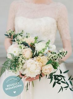 Read what flowers FloralAndBloom.com used in this luscious #bouquet on #SMP: http://www.StyleMePretty.com/2016/01/09/bouquet-breakdown-classic-washington-d-c-ballroom-wedding | VickiGraftonPhotography.com