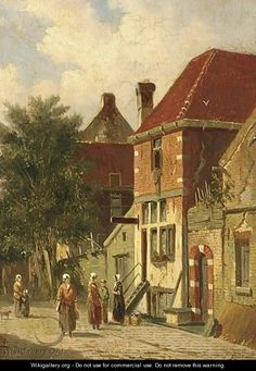 Villagers In A Sunlit Street Of A Dutch Town - Adrianus Eversen