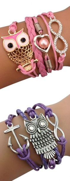 Owl Arm Party Bracelets ♥ My sandZ would L. I like the purple. Owl Jewelry, Cute Jewelry, Jewelry Crafts, Jewelry Accessories, Fashion Accessories, Jewelry Necklaces, Arm Party, Girly Things, Creations