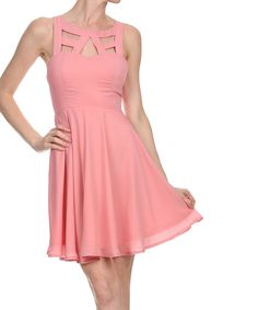 Look at this Kokette Pink Lace-Back Cutout Dress on #zulily today!