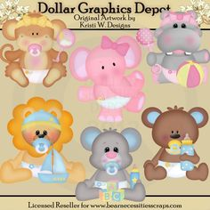 Baby Animals Clip Art - *DGD Exclusive* - Created by Kristi W. Designs - Great for printable crafts, scrapbooking, embroidery patterns, and more!