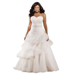GEORGE BRIDE Satin Strapless Sweetheart Beaded Tiered Plus Size Wedding Dress GEORGE BRIDE, http://www.amazon.com/dp/B009HPEAD2/ref=cm_sw_r_pi_dp_3x0erb1ZEPWPE