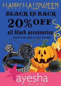 Halloween Offer - Black is Back, 20% off on all black accessories from 22 to 31 October 2012 at Ayesha Accessories Mumbai | Deals, Sales, Offers, Discounts in Mumbai | MallsMarket