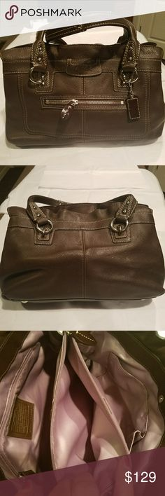 COACH chocolate brown pebbled leather shoulder bag 3 pocket,zipper down the middle,silk lining COACH  Bags Satchels