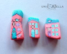 Little houses on a hillside, little houses make of brick-a-brack... rock painted fairy houses