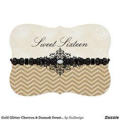 Gold Glitter Chevron & Damask Sweet16 Invitation Matching products in the GoDesign store! #invitations #birthdayparty  #sweetsixteen #sweet16