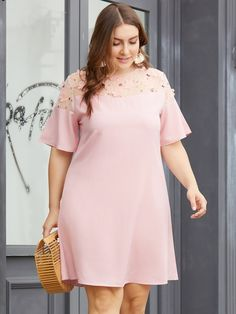To find out about the Plus Contrast Mesh Floral Embroidered Dress at SHEIN, part of our latest Plus Size Dresses ready to shop online today! African Fashion Dresses, Fashion Outfits, Fashion Hacks, Fashion Tips, Womens Linen Clothing, Lace Dress Styles, Dress Lace, Plus Size Fashion For Women, Big Size Fashion