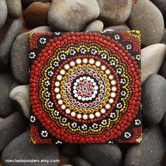 Authentic Aboriginal Dot Art, Acrylic paint on Canvas Board Painting, Earth colours, 4 x 4  This is an original artwork hand painted in acrylic paint on canvas board. The artwork has been coated with a protective spray after being signed by me, Biripi Artist - Raechel Saunders.   A little piece of Australia just for your own home, or a unique gift idea for someone special.  The concentric circle pattern is representative in Aboriginal art of special place, or a meeting place. Often used to…