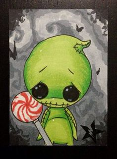 Sugar Fueled Oogie Boogie Nightmare Before Christmas lowbrow creepy cute big eye ACEO mini print Tim Burton Kunst, Tim Burton Art, Burton Burton, Nightmare Before Christmas, Grafiti, Oogie Boogie, Jack And Sally, Arte Horror, Creepy Cute
