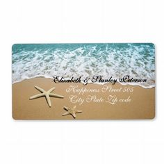 Pair of starfish beach destination wedding personalized shipping label