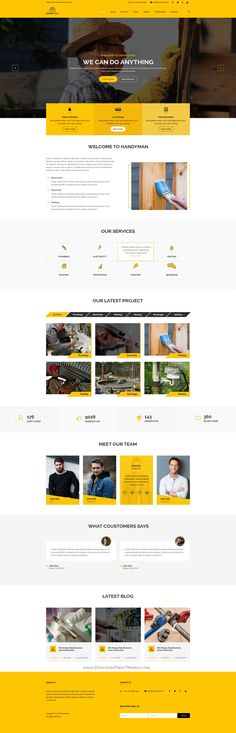 Hanyman is clean and modern design PSD template for #handyman services #website with 3 homepage layouts and 30+ layered PSD pages to live preview & download click on Visit