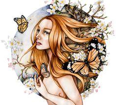 """Monarch"", 65 cm x 56 cm. Watercolor and color pencils on paper."