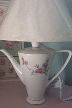 Gorgeous vintage  table lamp. Vintage china coffee pot up-cycled home lighting, unique gift, beautiful shabby chic, home decor. - pinned by pin4etsy.com