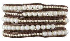 95b5648c3b2 Chan Luu White Pearl and Sterling Silver Nuggets Brown Leather Wrap Bracelet  BS-2350