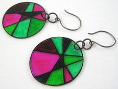 """""""stained glass"""" shrink plastic earrings - I love these and they are so easy to make.  Check out the easy tutorial. #earrings #jewelry #crafts"""