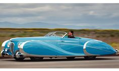 "1949 Delahaye type 175 S Roadster, formerly owned by Diana Dors.   With its swooping lines, vivid turquoise paintwork and glinting chrome, it was described as ""extravagant and outrageous, a rolling sculpture."" It is a one-off, the chassis built by the French car manufacturer Delahaye and the body created by the Parisian coach-building company Saoutchik.  ""They were often outlandish designs, and many were built just for shows and for impressing people."""