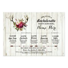 #Bridal Shower Itinerary Bachelorette Antler Rustic Card - #saturday #saturdays
