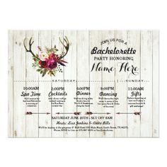 #Bridal Shower Itinerary Bachelorette Antler Rustic Card - #saturday #saturdays