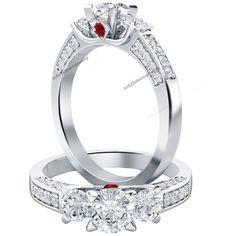 2.00CT Round Cut Diamond Three-Stone VVS1 Engagement Ring 10K White Gold Over | eBay
