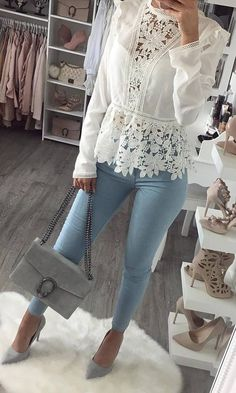 white Victorian lace blouse + light wash skinny jeans + bag + heels