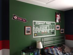 Green Monster in my teenage sons bedroom. Three other walls are red, blue & grey striped...Red Sox uniform colors