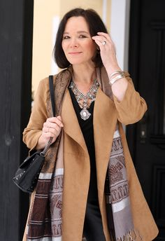Suede coat and statement necklace