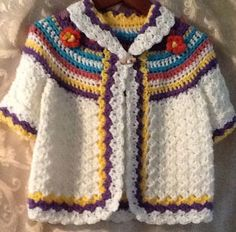 Little girls hand crochet sweater coat. This is adorable.