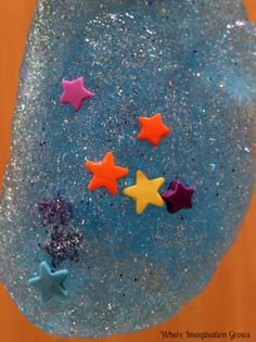 Space Sensory Play for Kids: Star Slime #poppinsbooknook
