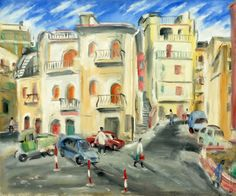 Ernest Zmeták: Námestie v Taormine II.:1981 Ernest, Milan, Street View, Watercolor, Author, Italia, Pen And Wash, Watercolor Painting, Watercolour