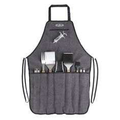 Built for the master griller, the Elite Stainless Steel BBQ Tool Set with a 13 piece BBQ tool set and apron carrying case from Fire Sense, is the essential set for any griller. Starting with the heavy-duty charcoal apron with black tri.